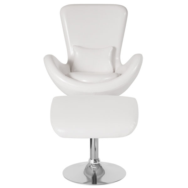 Chair and Ottoman Set White Leather Reception Chair