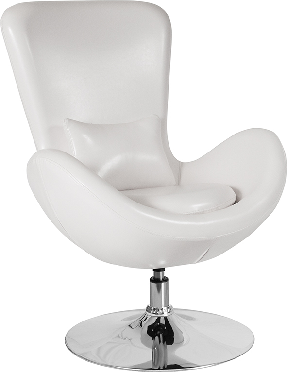 Wholesale Egg Series White Leather Side Reception Chair