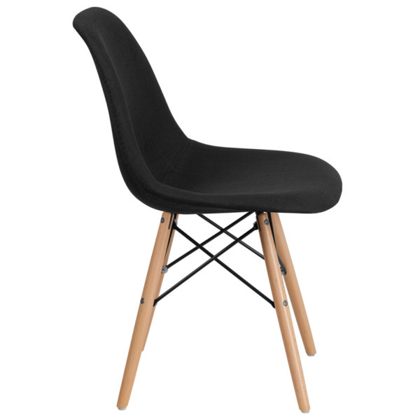 Lowest Price Elon Series Genoa Black Fabric Chair with Wooden Legs