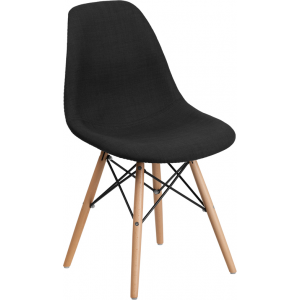 Wholesale Elon Series Genoa Black Fabric Chair with Wooden Legs