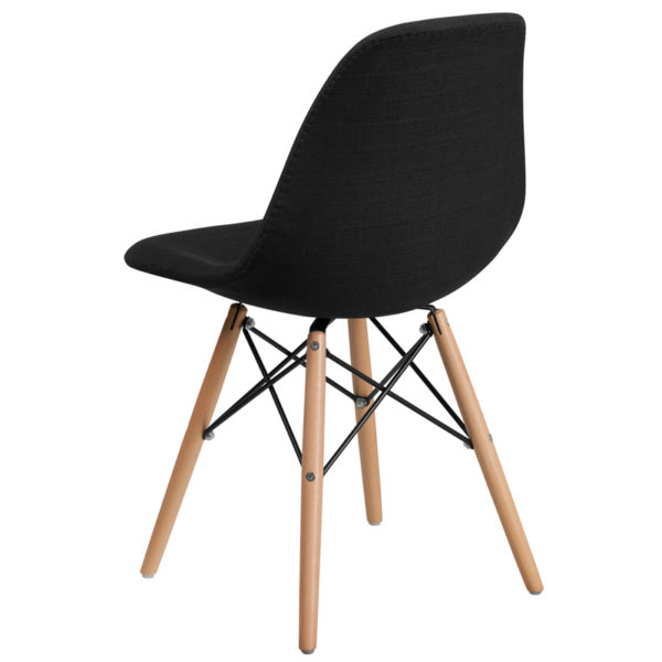 Accent Side Chair Black Fabric/Wood Chair