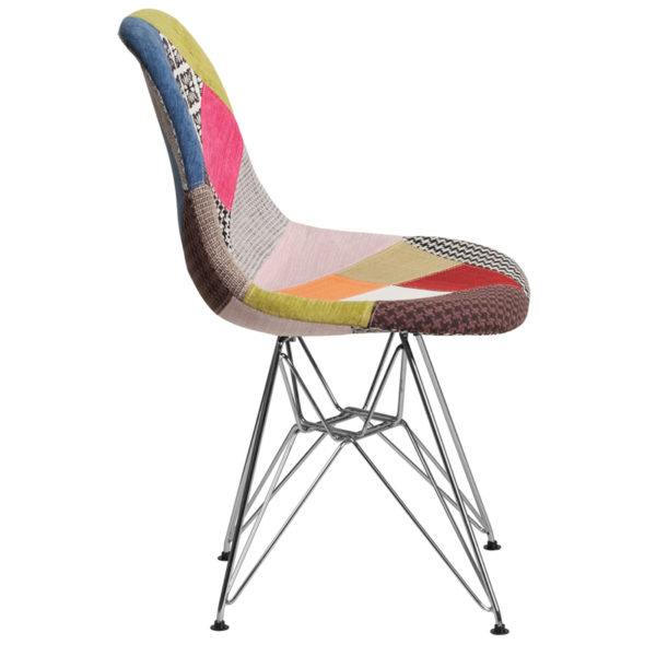 Lowest Price Elon Series Milan Patchwork Fabric Chair with Chrome Base