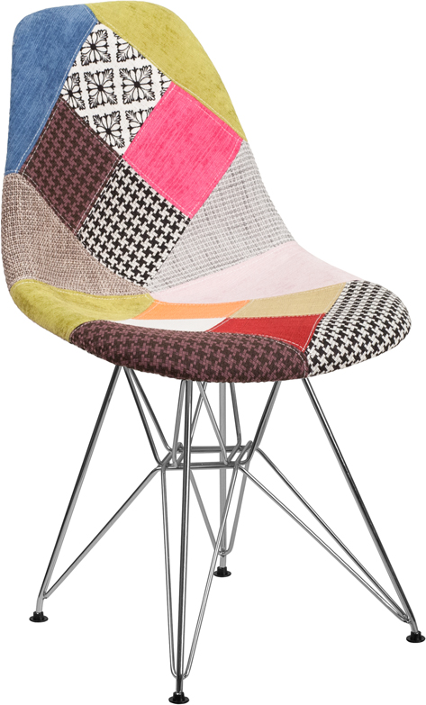 Wholesale Elon Series Milan Patchwork Fabric Chair with Chrome Base