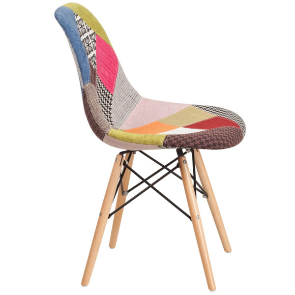 Lowest Price Elon Series Milan Patchwork Fabric Chair with Wooden Legs