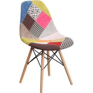 Wholesale Elon Series Milan Patchwork Fabric Chair with Wooden Legs