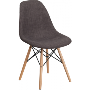 Wholesale Elon Series Siena Gray Fabric Chair with Wooden Legs