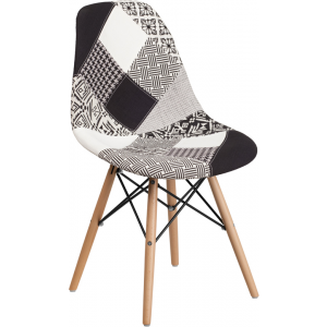 Wholesale Elon Series Turin Patchwork Fabric Chair with Wooden Legs