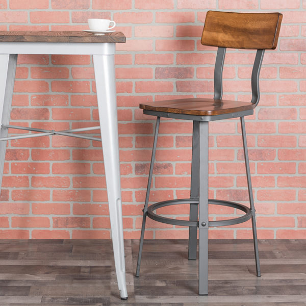 Lowest Price Flint Series Rustic Walnut Restaurant Barstool with Wood Seat & Back and Gray Powder Coat Frame