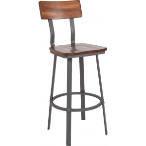 Wholesale Flint Series Rustic Walnut Restaurant Barstool with Wood Seat & Back and Gray Powder Coat Frame