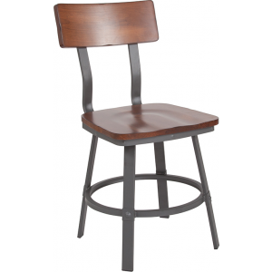 Wholesale Flint Series Rustic Walnut Restaurant Chair with Wood Seat & Back and Gray Powder Coat Frame