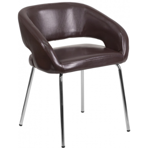 Wholesale Fusion Series Contemporary Brown Leather Side Reception Chair