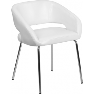 Wholesale Fusion Series Contemporary White Leather Side Reception Chair