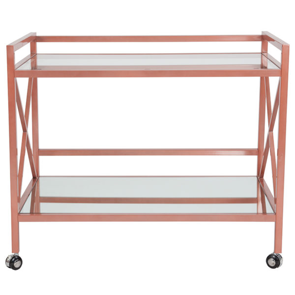 Lowest Price Glenwood Park Glass Kitchen Serving and Bar Cart with Rose Gold Frame