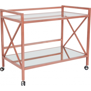 Wholesale Glenwood Park Glass Kitchen Serving and Bar Cart with Rose Gold Frame