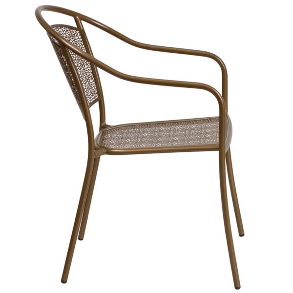 Lowest Price Gold Indoor-Outdoor Steel Patio Arm Chair with Round Back