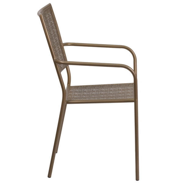 Lowest Price Gold Indoor-Outdoor Steel Patio Arm Chair with Square Back
