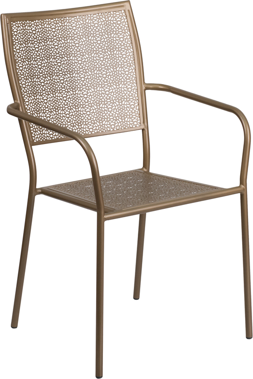 Wholesale Gold Indoor-Outdoor Steel Patio Arm Chair with Square Back