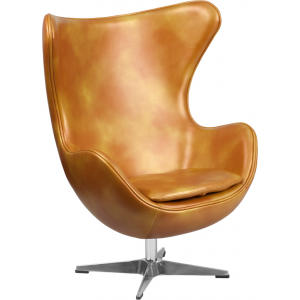 Wholesale Gold Leather Egg Chair with Tilt-Lock Mechanism