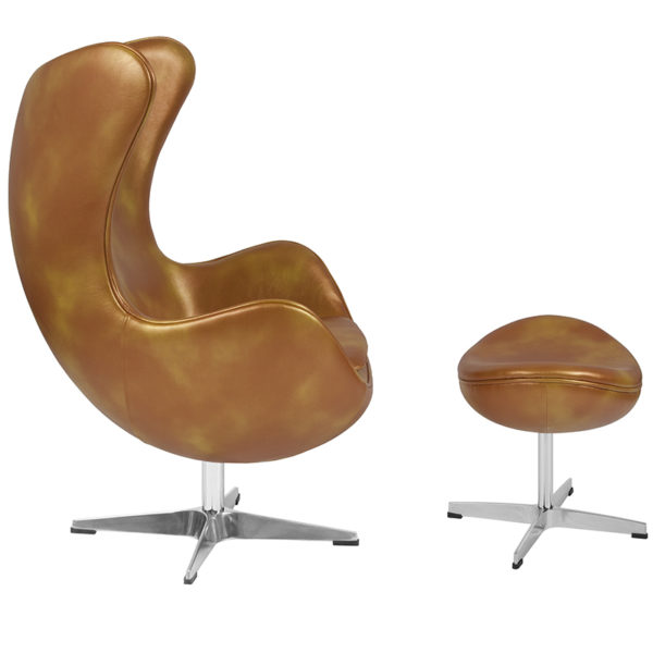 Lowest Price Gold Leather Egg Chair with Tilt-Lock Mechanism and Ottoman