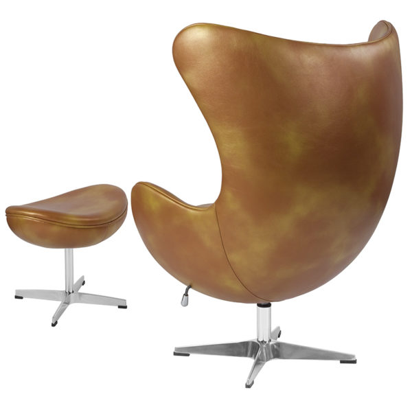 Chair and Ottoman Set Gold Leather Egg Chair/OTT