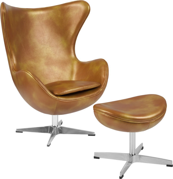 Wholesale Gold Leather Egg Chair with Tilt-Lock Mechanism and Ottoman