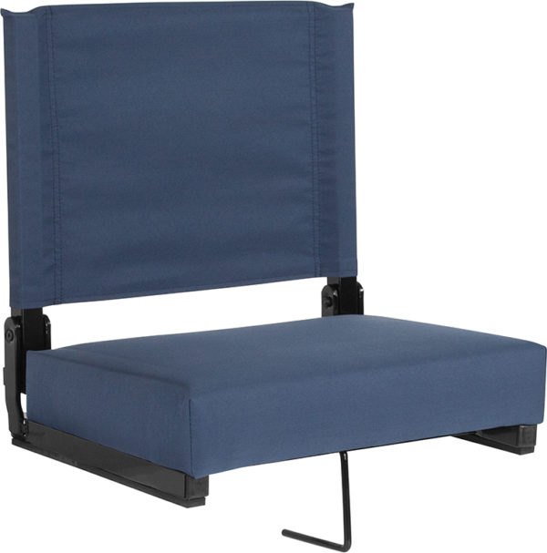 Wholesale Grandstand Comfort Seats by Flash with Ultra-Padded Seat in Navy Blue