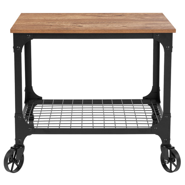 Lowest Price Grant Park Rustic Wood Grain and Industrial Iron Kitchen Serving and Bar Cart