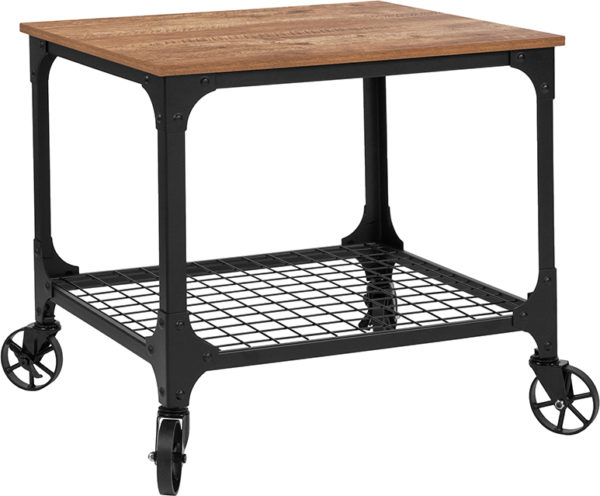 Wholesale Grant Park Rustic Wood Grain and Industrial Iron Kitchen Serving and Bar Cart