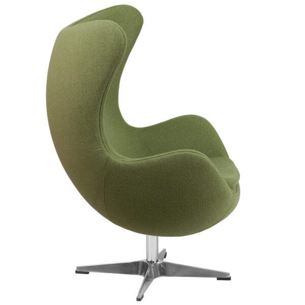 Lowest Price Grass Green Wool Fabric Egg Chair with Tilt-Lock Mechanism