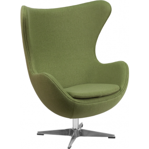 Wholesale Grass Green Wool Fabric Egg Chair with Tilt-Lock Mechanism