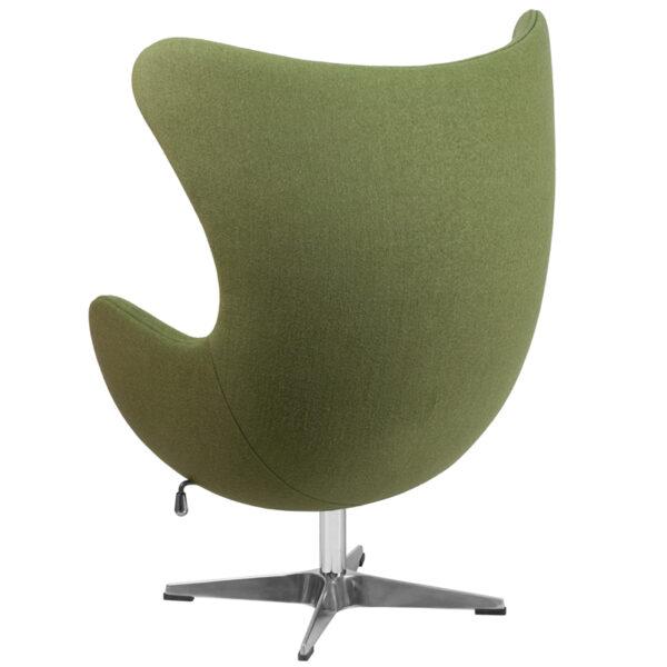 Lounge Chair Green Wool Fabric Egg Chair