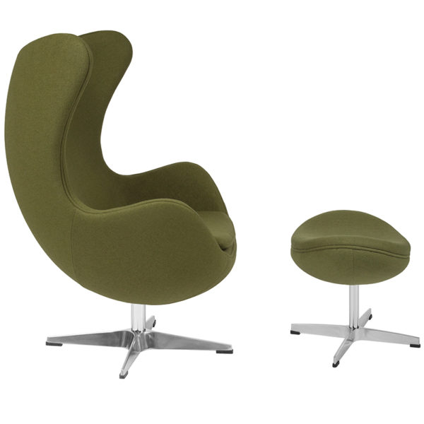 Lowest Price Grass Green Wool Fabric Egg Chair with Tilt-Lock Mechanism and Ottoman