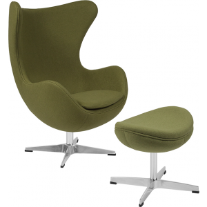 Wholesale Grass Green Wool Fabric Egg Chair with Tilt-Lock Mechanism and Ottoman