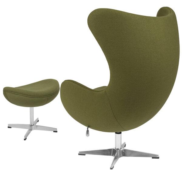 Chair and Ottoman Set Green Wool Egg Chair/OTT