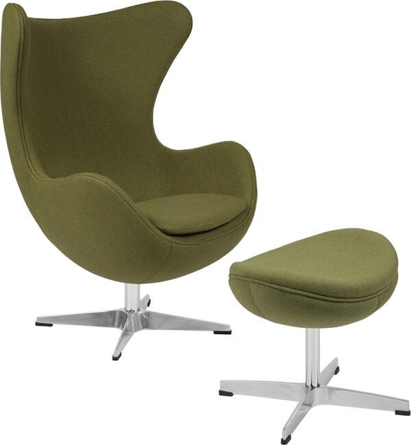 Wholesale Grass Green Wool Fabric Egg Chair with Tilt-Lock Mechanism and Ottoman