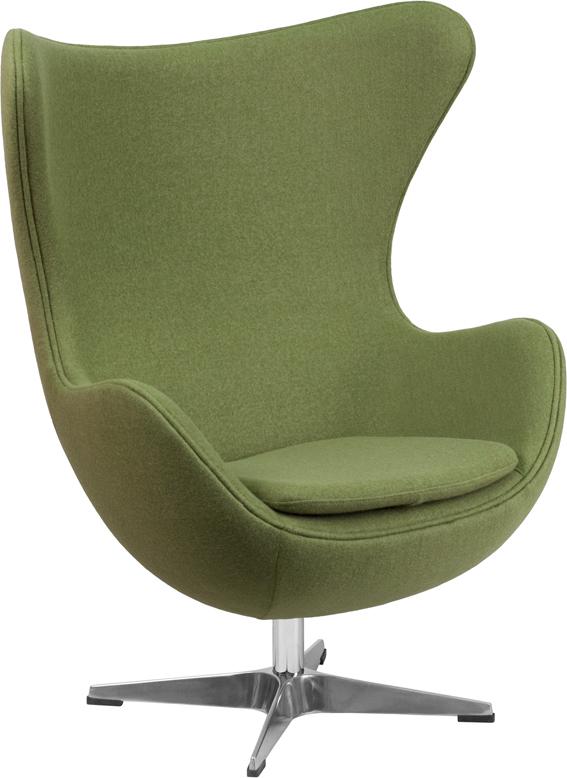 Wholesale Grass Green Wool Fabric Egg Chair with Tilt-Lock Mechanism