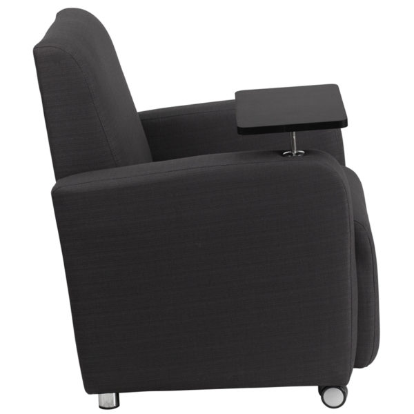 Lowest Price Gray Fabric Guest Chair with Tablet Arm and Front Wheel Casters