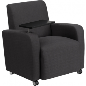 Wholesale Gray Fabric Guest Chair with Tablet Arm and Front Wheel Casters