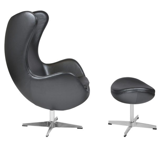 Lowest Price Gray Leather Egg Chair with Tilt-Lock Mechanism and Ottoman