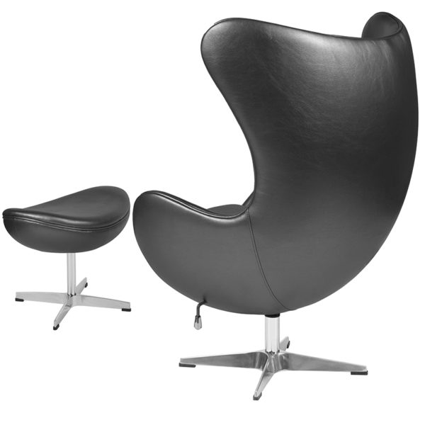 Chair and Ottoman Set Gray Leather Egg Chair/OTT