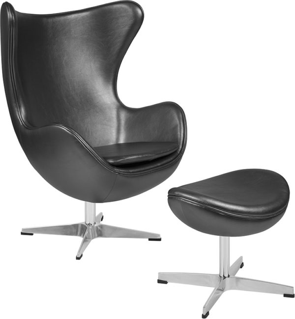 Wholesale Gray Leather Egg Chair with Tilt-Lock Mechanism and Ottoman
