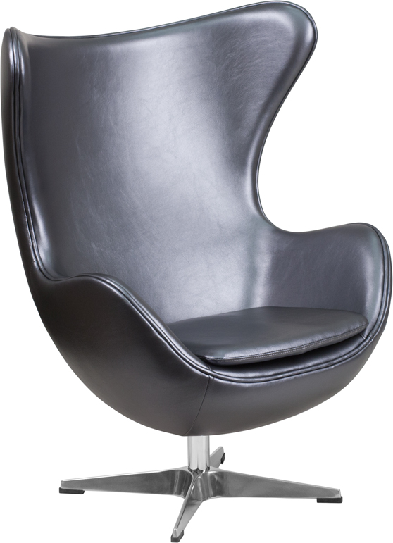 Wholesale Gray Leather Egg Chair with Tilt-Lock Mechanism