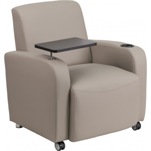 Wholesale Gray Leather Guest Chair with Tablet Arm