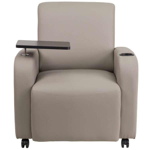 Contemporary Style Gray Leather Tablet Chair