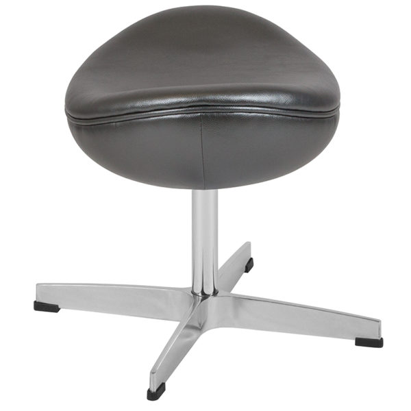 Lowest Price Gray Leather Ottoman