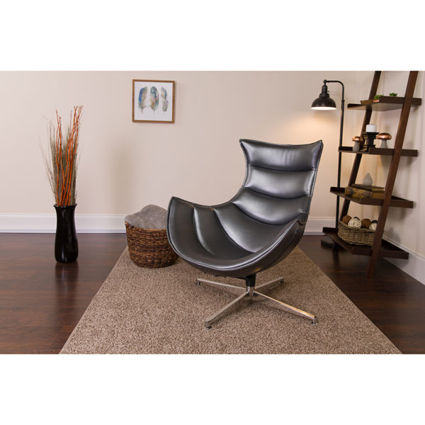 Lowest Price Gray Leather Swivel Cocoon Chair