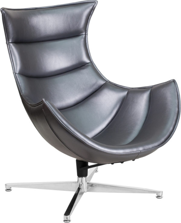 Wholesale Gray Leather Swivel Cocoon Chair