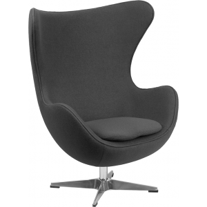 Wholesale Gray Wool Fabric Egg Chair with Tilt-Lock Mechanism