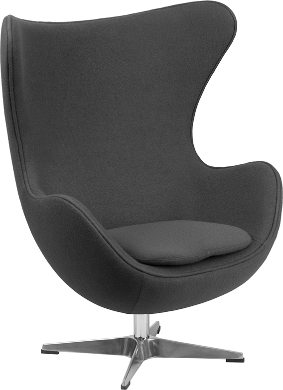 Wholesale Gray Wool Fabric Egg Chair with Tilt-Lock Mechanism