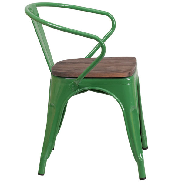 Lowest Price Green Metal Chair with Wood Seat and Arms